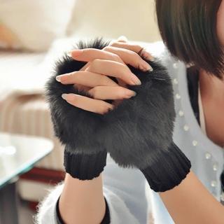 【i 美麗】毛絨絨黑色短手套(買一送一)