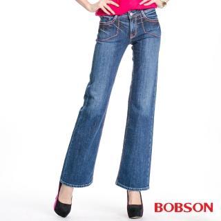 【BOBSON】女款紅色繡線寬管喇叭褲(淺藍58)