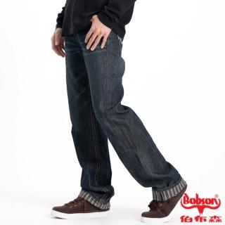 【BOBSON】男款內條紋中直筒褲(藍53)