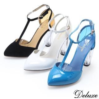 【☆Deluxe☆】時尚獨特-T字繫帶透明粗跟小尖頭鞋(★三色)