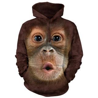 【摩達客】美國進口The Mountain 可愛猩猩臉 長袖連帽T恤(現貨)