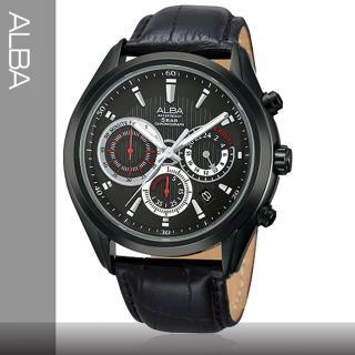 【SEIKO精工 ALBA 亞柏系列】皮革錶帶_直紋紅指針時尚男錶(AT3233X1)
