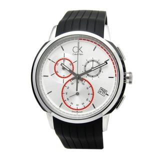 【Calvin Klein】紳士風範‧紅圈三眼計時腕錶-銀(K1V27926)