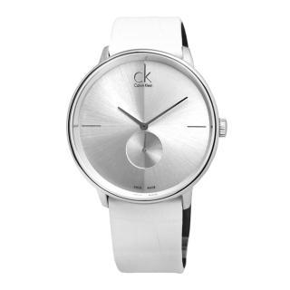 【Calvin Klein】Uhren Accent‧獨立秒針純白皮革腕錶-銀 / 大(K2Y211K6)