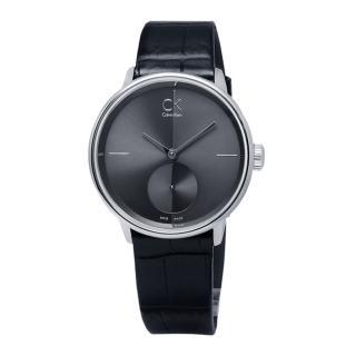 【Calvin Klein】Uhren Accent‧獨立秒針純黑皮革腕錶-灰 / 小(K2Y231C3)