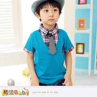 【魔法Baby】男童裝-假兩件襯衫領上衣(k33502)