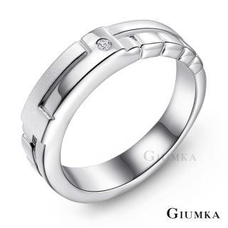 【GIUMKA】情侶對戒  幾何戀曲精鍍正白K 鋯石情人戒指 單個價格 MR03059-1F(銀色細版)
