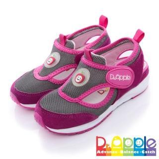 【Dr. Apple 機能童鞋】雙色拼接輕量透氣童鞋(桃)