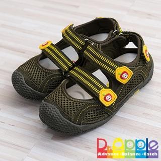 【Dr. Apple 機能童鞋】雙色拼貼休閒護趾涼鞋(綠)