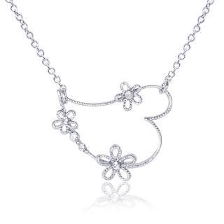 【Aguchi 亞古奇】心間花朵(心鑽系列水鑽銀項鍊飾品)