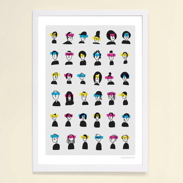 【摩達客】西班牙插畫家Judy Kaufmann藝術創作海報掛畫裝飾畫-朋友看3D(附本人簽名 含木框)