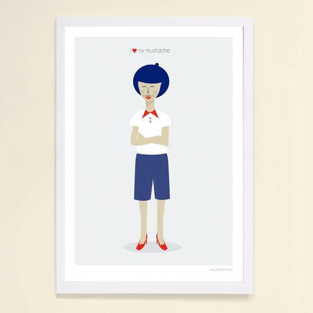【摩達客】西班牙插畫家Judy Kaufmann藝術創作海報掛畫裝飾畫-我愛我鬍子(附本人簽名 含木框)