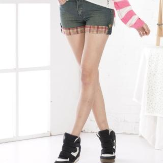【RH】牛仔褲配格子3分褲(天空藍3分褲最後到貨)