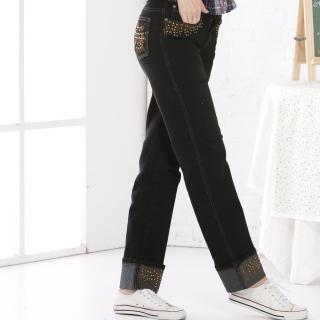 【RH】牛仔黑藍小直筒可反摺9分褲(顯瘦藍小直茼可反摺9分褲)