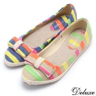 【☆Deluxe☆】舒適美學-經典海軍風帆布條紋平底鞋(★二色)