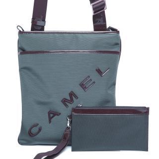 【CAMEL】英倫極簡風超質感牛皮薄型直立式休閒側肩包