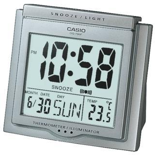 【CASIO 卡西歐】大字幕數位電子溫度鬧鐘(銀灰-DQ-750F-8DF)