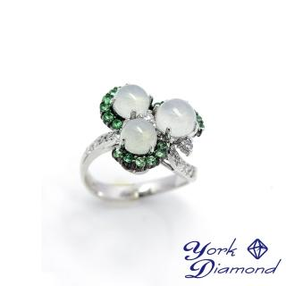 【約克鑽石】臻藏情冰種玉沙佛萊石14白K金戒指(主石約5.6mm)