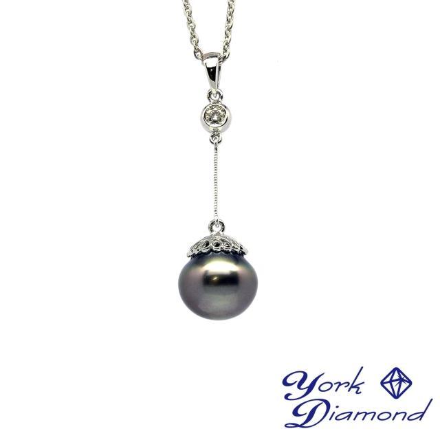 【約克鑽石】氣質名媛11.8mm天然大溪地南洋黑珍珠(真鑽項鍊)