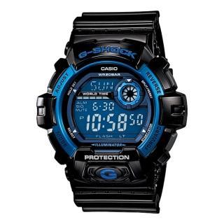 【CASIO 卡西歐 G-SHOCK 系列】多層次液晶個性休閒運動錶(G-8900A 黑藍)