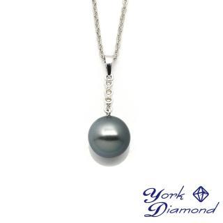【約克鑽石】典雅11mm天然大溪地南洋黑珍珠(真鑽項鍊)