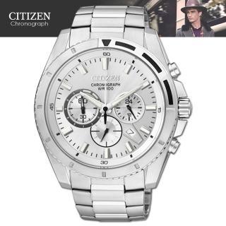 【CITIZEN 星辰】三眼造型時尚紳士腕錶(AN8010-55A)