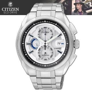 【CITIZEN 星辰】光動能鈦金屬藍寶石水晶時尚腕錶(CA0201-51B)
