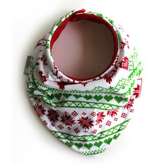 【美國hugmesew】純棉獨特領巾雙層圍兜(聖誕愛心麋鹿)