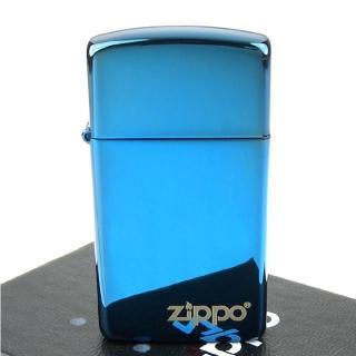 【ZIPPO】美系-LOGO字樣打火機-超質感Sapphire藍寶色鏡面(窄版)