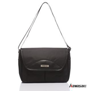 【KAWASAKI】異材質設計。MIT多隔層時尚平板包(黑色)