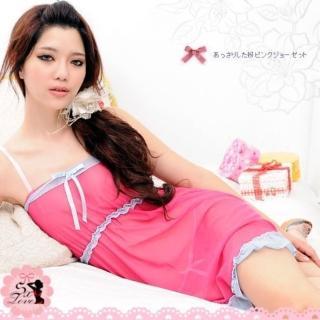 【Mona】繽紛心情!輕柔薄紗二件式睡衣(玫紅)