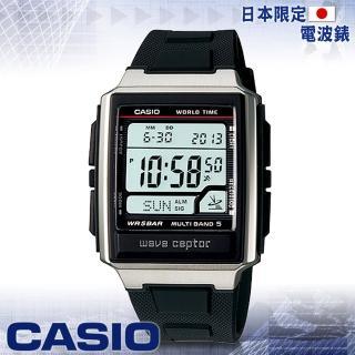 【CASIO 卡西歐 電波錶】方型電波時計腕錶-旅行者最愛(WV-59J)