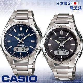 【CASIO 卡西歐 電波錶】六局電波太陽能多國語言腕錶(WVA-M640D 黑-藍)
