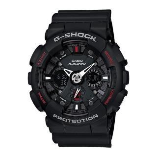 【CASIO 卡西歐 G-SHOCK 系列】重機儀表板設計雙顯男錶(GA-120 黑)