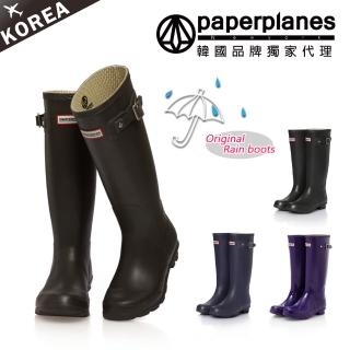 【PAPERPLANES韓國休閒鞋】時尚簡約防水高筒雨靴(7-1193)