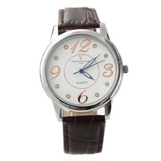 【Valentino范倫鐵諾】數字奧地利水鑽真皮手錶腕錶 情人對錶(玖飾時尚NE1089)