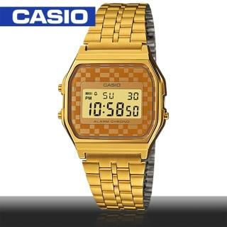 【CASIO 卡西歐】普普風格經典復古款女錶(A159WGEA 金)