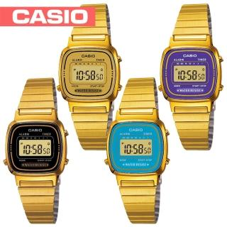 【CASIO 卡西歐】日系復古風-金色系電子女錶(LA670WGA)