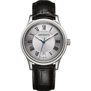 【AEROWATCH】經典羅馬旗鑑腕錶-銀x黑/40mm(A24962AA01)