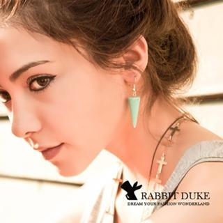 【RD 兔子公爵】現貨 經典歐美風格 個性可愛繽紛立體三角錐造型耳環(四色)