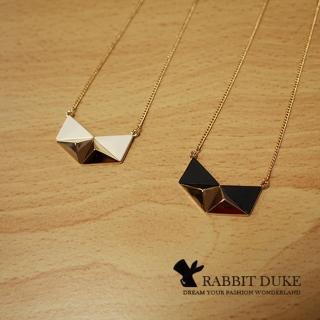 【RD 兔子公爵】現貨 經典歐美風格 個性三角立體拼色設計項鍊(二色)
