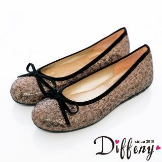 【Diffeny】人氣不敗 豹紋蝴蝶結豆豆底娃娃鞋(耀眼金)
