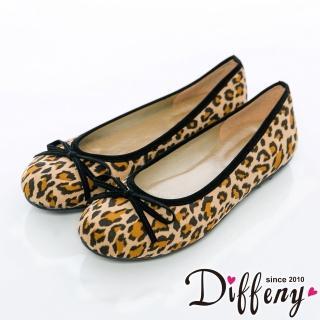 【Diffeny】人氣不敗 豹紋蝴蝶結豆豆底娃娃鞋(豹紋咖)