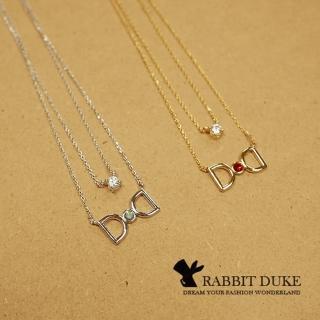 【RD 兔子公爵】現貨 經典歐美風格 個性925純銀蝴蝶結鑲寶石雙練設計項鍊(二色)