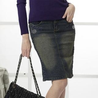 【RH】圖騰晶鑽造型個性牛仔裙(深藍色全尺碼S-XL最後數量)