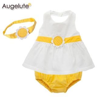 【baby童衣】套裝嬰兒 夏日向日葵寶寶服 32022(白色)