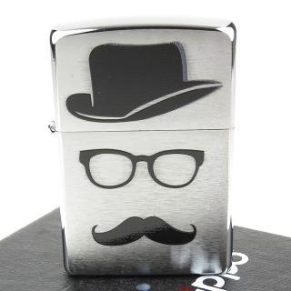 【ZIPPO】美系-Moustache And Hat-翹鬍子與帽子膠印加工打火機
