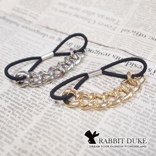 【RD 兔子公爵】現貨 經典歐美風格 個性假金屬鎖鍊拼接髮圈(二色)