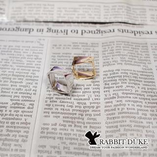 【RD 兔子公爵】現貨 經典歐美風格 個性素面方型多面體設計戒指(二色)