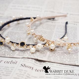【RD 兔子公爵】現貨 經典歐美風格 個性珍珠皇冠小鑽拼接設計髮箍(二色)